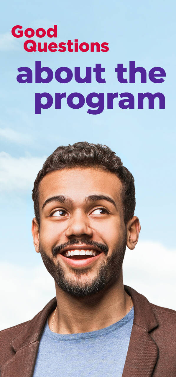 Image of smiling person with text that says Good Questions about the program