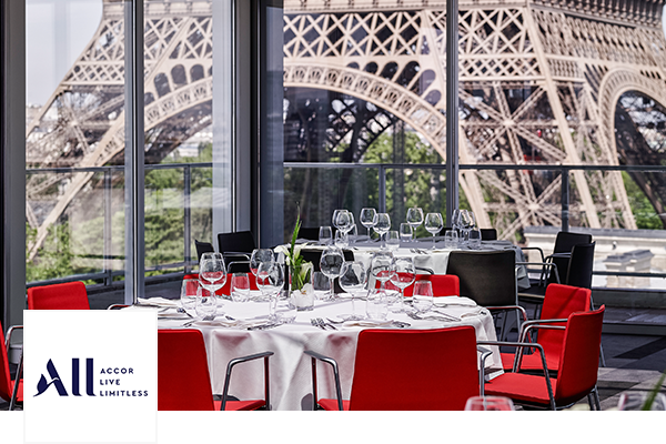 Dining table at Le Club Accor Hotel, Eiffel Tower