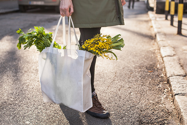 Woman holding shopping bag full of groceries