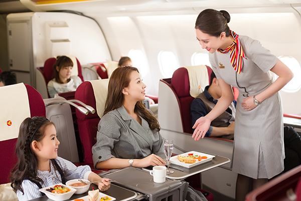 business class experience on Tianjin Airlines