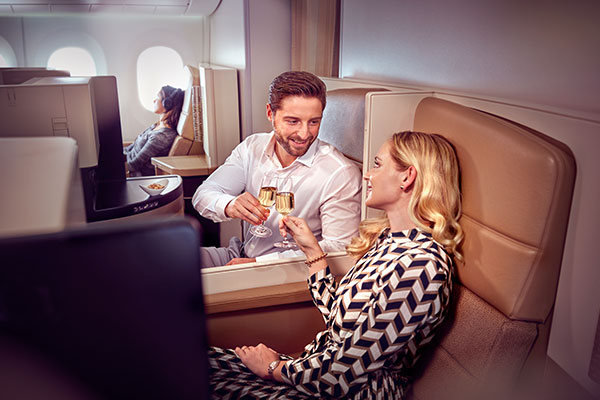 Man in Etihad Airways Business Class