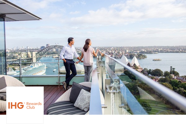 Couple on Intercontinental Hotel Sydney balcony