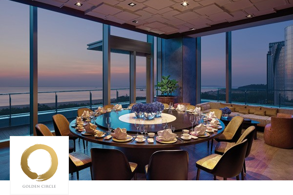 Dining table at Shangri-La overlooking ocean